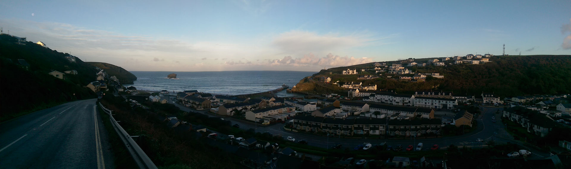 Panorama over Portreath village at sunset